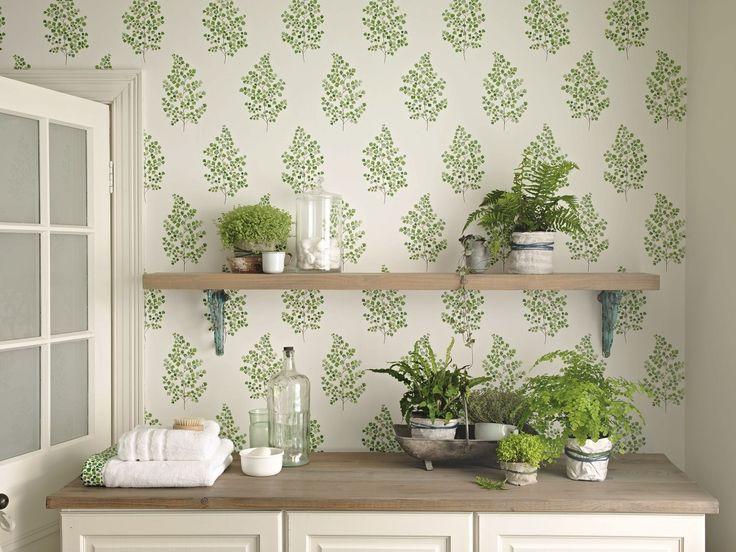 A Delicate, Fresh, Botantical Wallpaper Design Of An Angel Fern Motif.