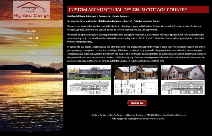 "When you see this site you won't immediately think, ""Oh, that's a WordPress site."" But it is! I love this theme because it's unique; it doesn't have the typical fullscreen slider and horizontal navigation. Browse and enjoy - and get to know a little more about this talented architectural designer in the Haliburton Highlands!"