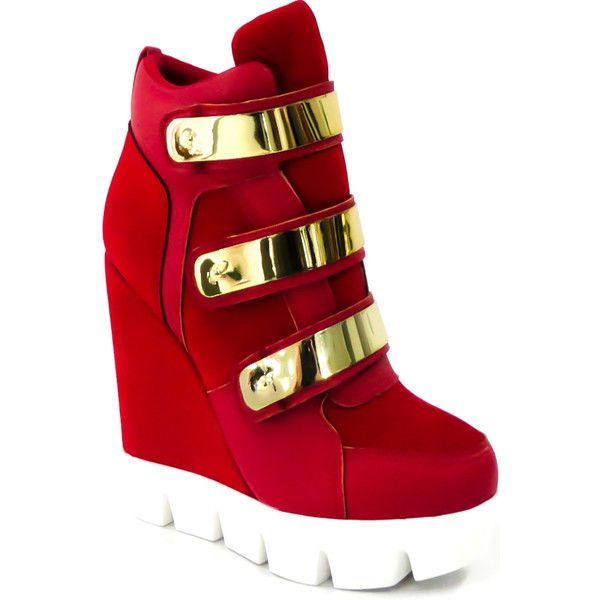 red suede material velcro straps gold accent casual wedge sneakers ($17) ❤ liked on Polyvore featuring shoes, sneakers, redsu, wedge sneaker shoes, wedge sneakers, red trainer, red wedge heel shoes and wedges shoes