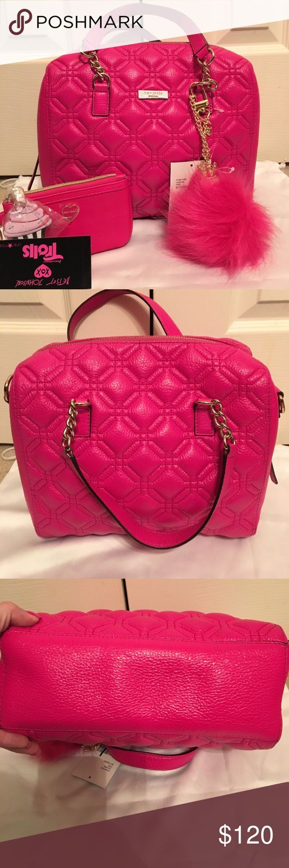 Kate Spade cute pink bag 👛 Very nice kate Spade hot pink bag. No flaws or stains. TV will be higher😊😘❤️💋💕🌹🦋🐬 kate spade Bags Wallets