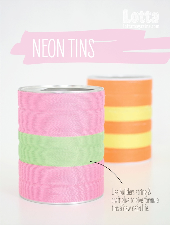Easy project for kids to make some fun neon storage tins for their toys or art supplies.