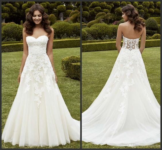 H278 Simply A Line Wedding Dresses Strapless Sweetheart Neckline Lace Applique 2016 Enzoani Ipswich Sweep Train LA Garden Wedding Bridal Gowns