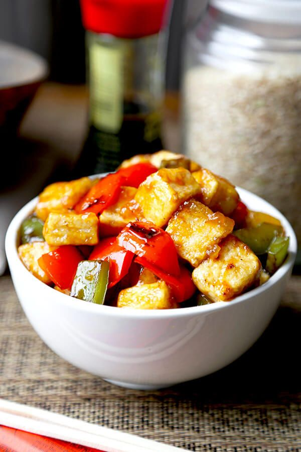 Sweet and Sour Tofu - This sweet and sour tofu recipe is a quick and delicious dinner option that's much better than takeout - and is ready in just 20 minutes! Chinese, Vegetarian, Recipe   pickledplum.com