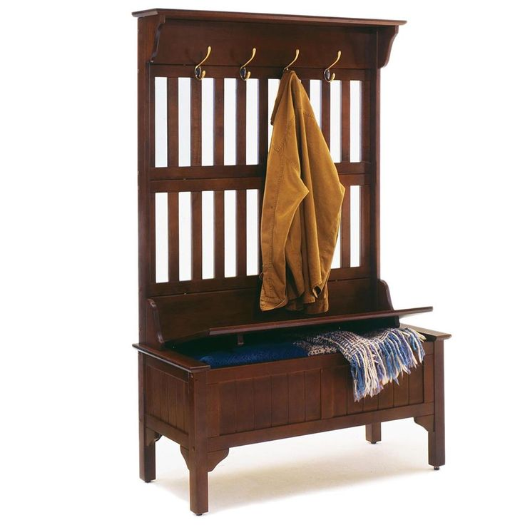 Home Styles Hall Tree and Storage Bench features solid wood construction in a cherry, cottage oak, or black finish. Features full lift top storage bench with safety hinge.