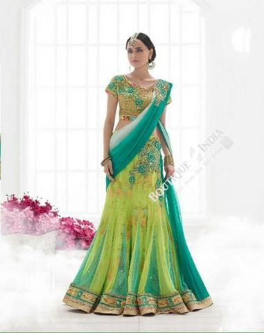 Sarees - Peacock Green, Blue And Golden  Bridal Collections - Resplendent Bridal Designer Wedding Special Collections / Wedding / Party / Special Occasions / Festival - Boutique4India Inc.