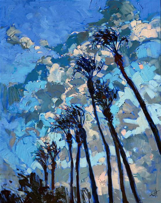 Contemporary impressionist oil painting of California Date Palms, by Erin Hanson