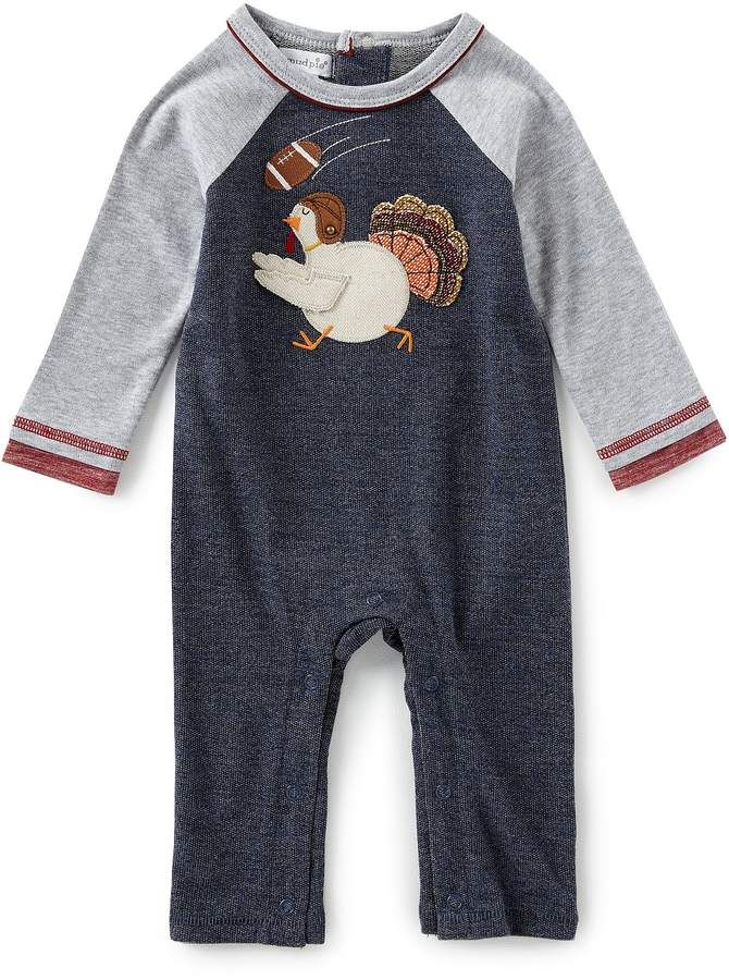 Mud Pie Baby Boys Newborn 12 Months Long Sleeve Thanksgiving Turkey Appliqued Coverall Kids Clothes Mud Pie Baby Baby Boy Newborn Boy Outfits