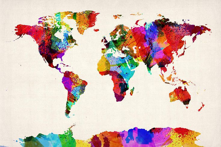 Map Of The World Map Abstract Painting Michael Tompsett