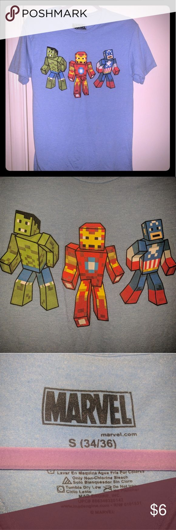 Men's Marvel Minecraft T-shirt Avengers Minecraft Character Cotton Tee Marvel Shirts Tees - Short Sleeve