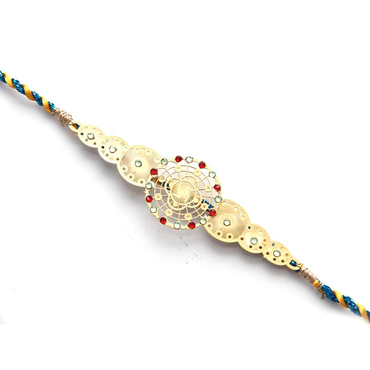 24 carat gold plated Rakhi with swastika http://www.diviniti.co.in