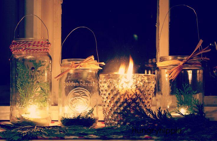DIY tea light lanterns from recycled glass food jars   HUNGRYHIPPIE