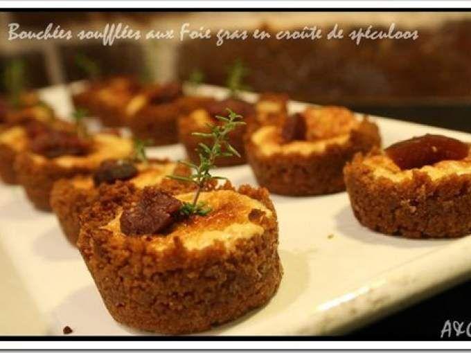 Mini Bouchées soufflées au foie gras en crôute de spéculoos et figue