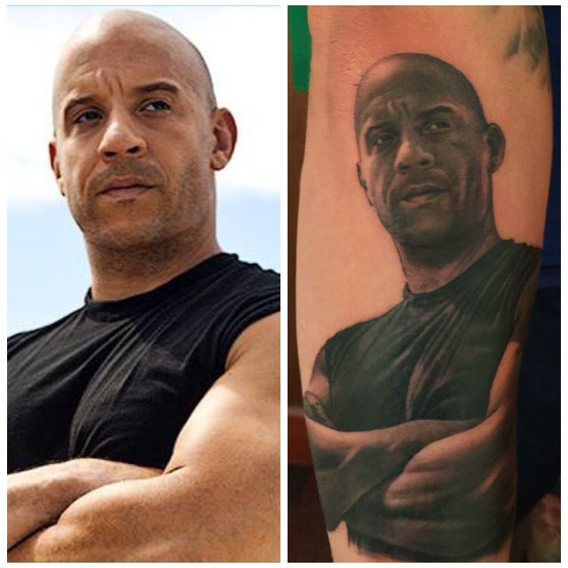 Portrait tattoo of Vin Diesel from the Fast and furious films by David Corden at Semper Tattoo Edinburgh. #Vindiesel #marksinclair #fastandfurious #portraittattoo #blackandgrey #portrait #realism #realistictattoo #thebesttattooartists #davidcorden #sempertattoo #tattoo #edinburgh