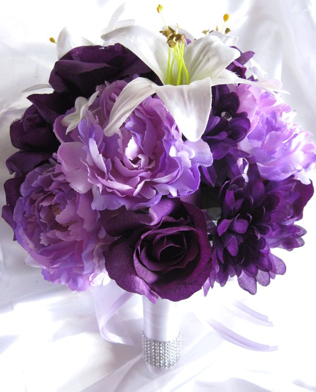 White Lily Purple Peonies Purple Roses Bouquet