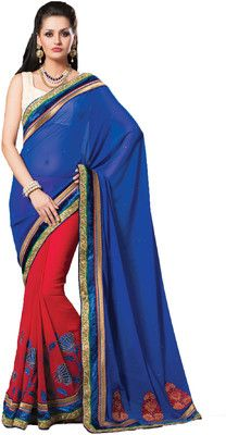 Aparnaa Self Design Embroidered Embellished Georgette Sari - Buy Blue, Red Aparnaa Self Design Embroidered Embellished Georgette Sari Online at Best Prices in India |  Flipkart.com Rs. 5,071 50% OFF Selling Price EMI starts from Rs. 453 ? (Free delivery)