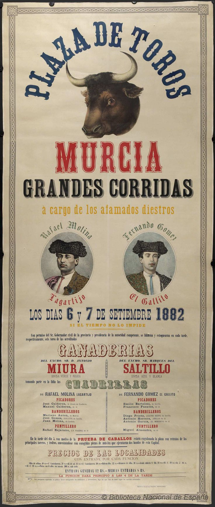 Grandes corridas. Plaza de toros de Murcia — Dibujos, grabados y fotografías — 1882