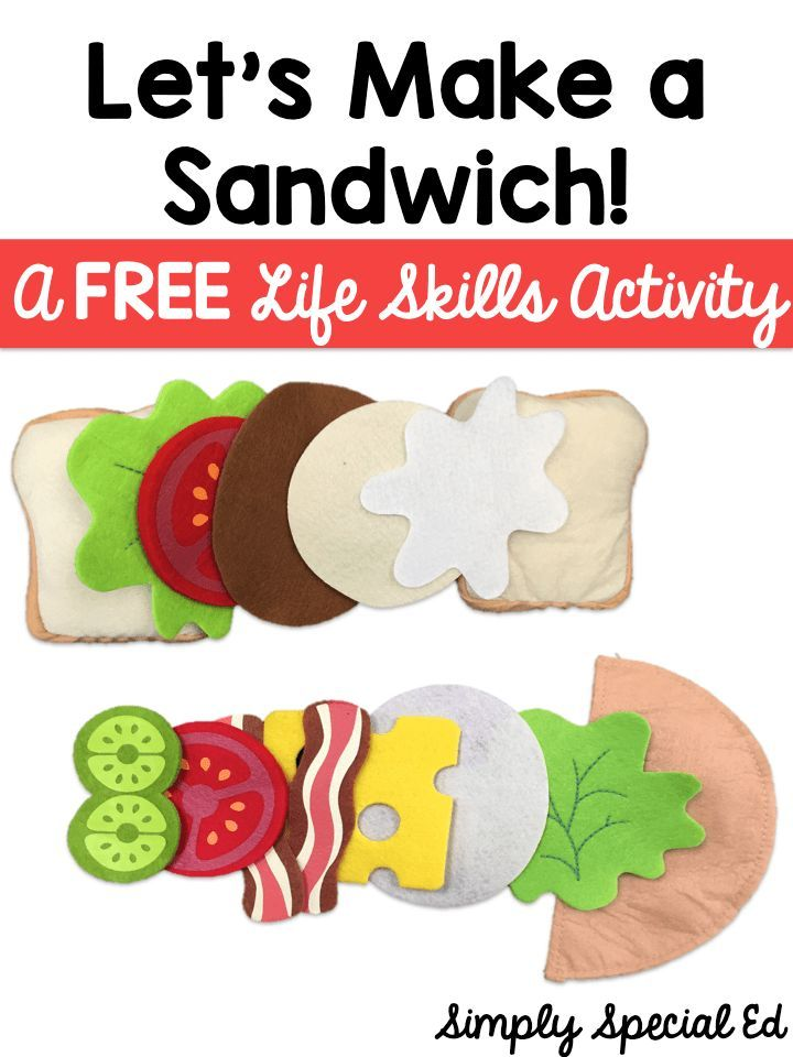 Let's Make a Sandwich life skills activity - Help your special education students better understand the important life skill of making a sandwich with this FREE download. This freebie will allow your students with autism an opportunity to hone in on their skill while working with a FUN activity. Click through to use this with your elementary, middle school, or high school students today.