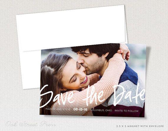 Lettered Wedding Save-the-Date Magnets  Modern von OakStreetPress