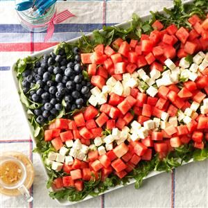 Watermelon Feta Flag Salad Recipe -Our family celebrates the Fourth of July with a watermelon salad that resembles the flag. Here's an all-American centerpiece that's truly red, white and blue. —Jan Whitworth, Roebuck, South Carolina