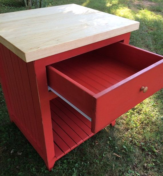 Butcher Block Red Kitchen Island : Kitchen island red butcher block top by RusticFurnishings on Etsy Eco Cottage Pinterest ...