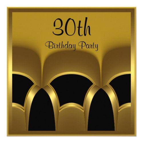 Invitation Mens 30th Birthday Party Black Gold Met