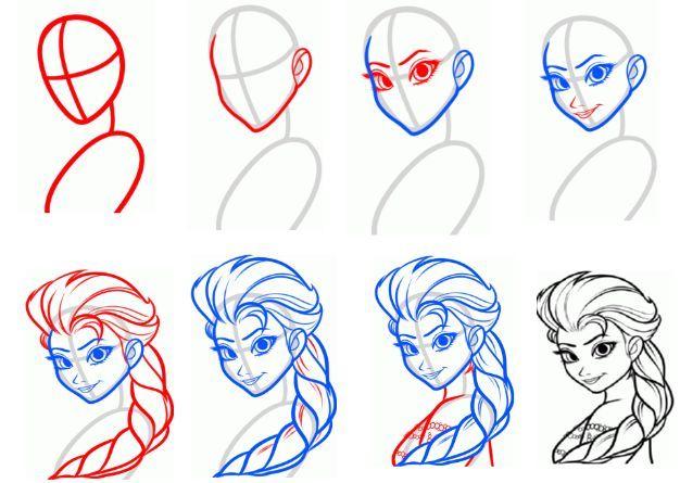 how to draw elsa dress