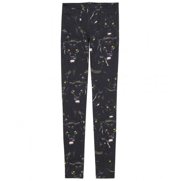 Givenchy Panther Print Trousers ($989) ❤ liked on Polyvore featuring pants, givenchy, jeans, bottoms, women, slim pants, slim trousers, stitch pants and givenchy pants
