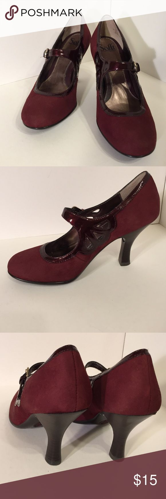 Sofft Burgundy stylish heels HOLD These are a pair of burgundy heels by sofft, padded foot bed, Adjustable buckle, heels 3 1/2 inches. Leather uppers, balance man made with materials. Size 7M . Good condition minor wear, a few light scuffs.See pictures for details. Be sure to check out other items in closet and bundle to receive discounts. Sofft Shoes Heels