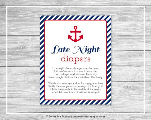 Nautical Baby Shower Late Night Diapers Sign - Printable Baby Shower Late Night Diapers - Nautical Baby Shower - Late Night Diapers - SP118