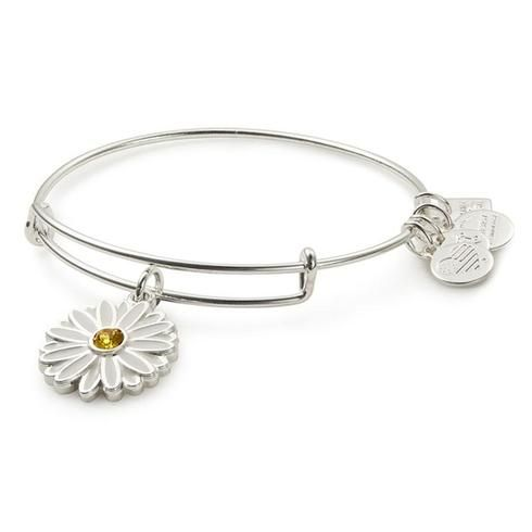 Alex and Ani Daisy Charm Bangle Bracelet - Shiny Silver Finish - Item 19718378