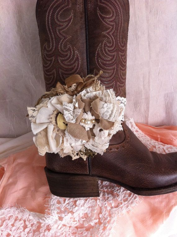 Cowgirl Accessory/ Mocha Tan, Ivory/ Flower Boot Band/ Cowgirl Headband/ Brooch Pin/ Girls Western Hairbow/ Girls Hairclip/ Rustic Headband