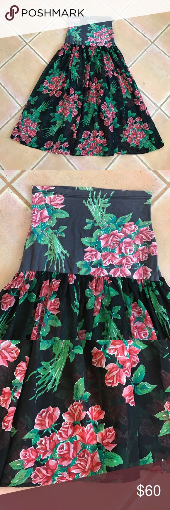 FREE PEOPLE Beautiful Rose Tube top Dress Size S In great condition!! Gorgeous rose dress. Tube top. Also can be worn on the waist as a skirt! Stretch cotton top, polyester see through bottom. Free People Dresses Maxi