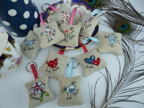 Handmade Lavender Keyring many designs Cath Kidston fabric hen flower keyfob | eBay