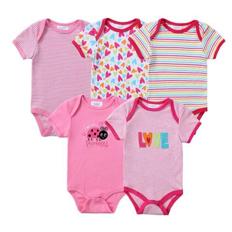 e11a8d5e2d13 Baby Rompers 5 Pcs lot Newborn Baby Boy Girls Clothes Short Sleeve Baby  Clothing Girl Roupa Infantil Body Bebes Jumpsuit