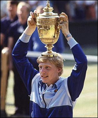 Boris Becker winning Wimbledon in 1985
