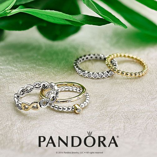 Mix and stack PANDORA two-tone rings to create a look that is most wanted. Sterling silver and 14k gold paired together compliments any look.
