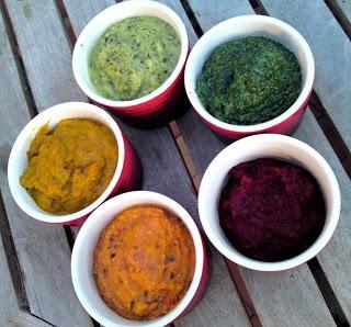 paleo dips (beetroot & herb, eggplant & tomato, roasted pumpkin ...