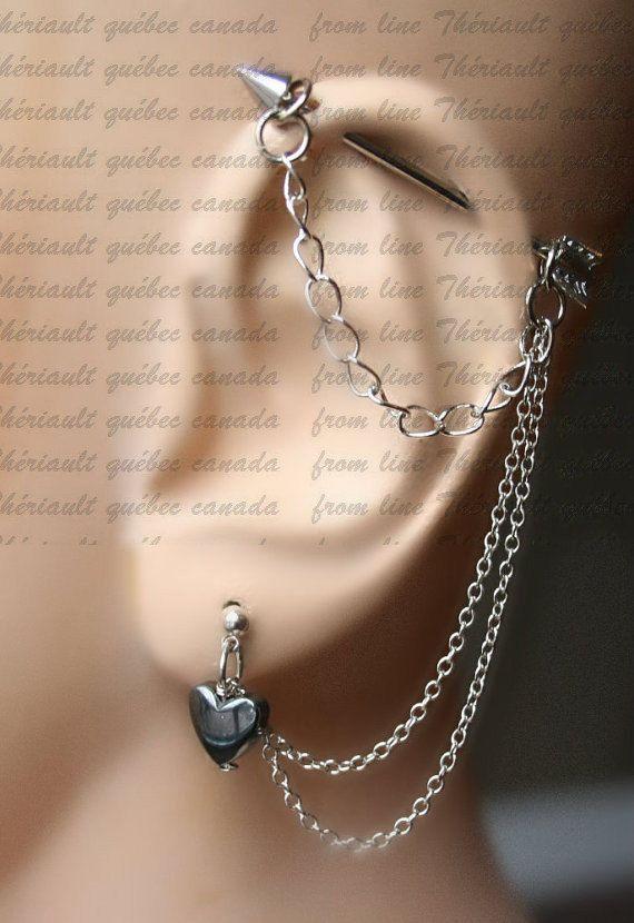 Arrow, Industrial Barbell, Industrial piercing,  Jewelry, Industrial bar earring, Industrial piercing chain,Hematite heart (m2D)