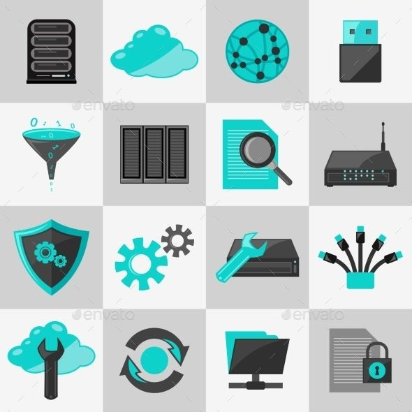 Database Icons Flat by macrovector Database information technology network management icons flat set isolated vector illustration. Editable EPS and Render in JPG for