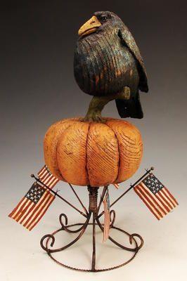 American Chestnut Carvings :: Blackbird On Flag Stand :: Peter Bretz  Americana Carvings