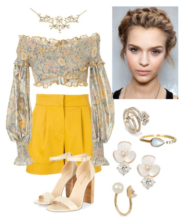 """""""Yellow outfit"""" by alaynahollist on Polyvore featuring Alberta Ferretti, Khaite, Gucci, La Kaiser, Kate Spade and Anissa Kermiche"""