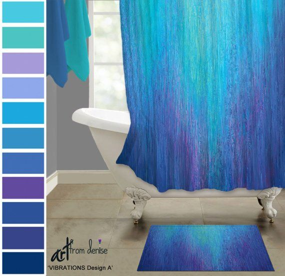 Fabric Shower Curtain Cobalt Blue Teal Turquoise Aqua Purple