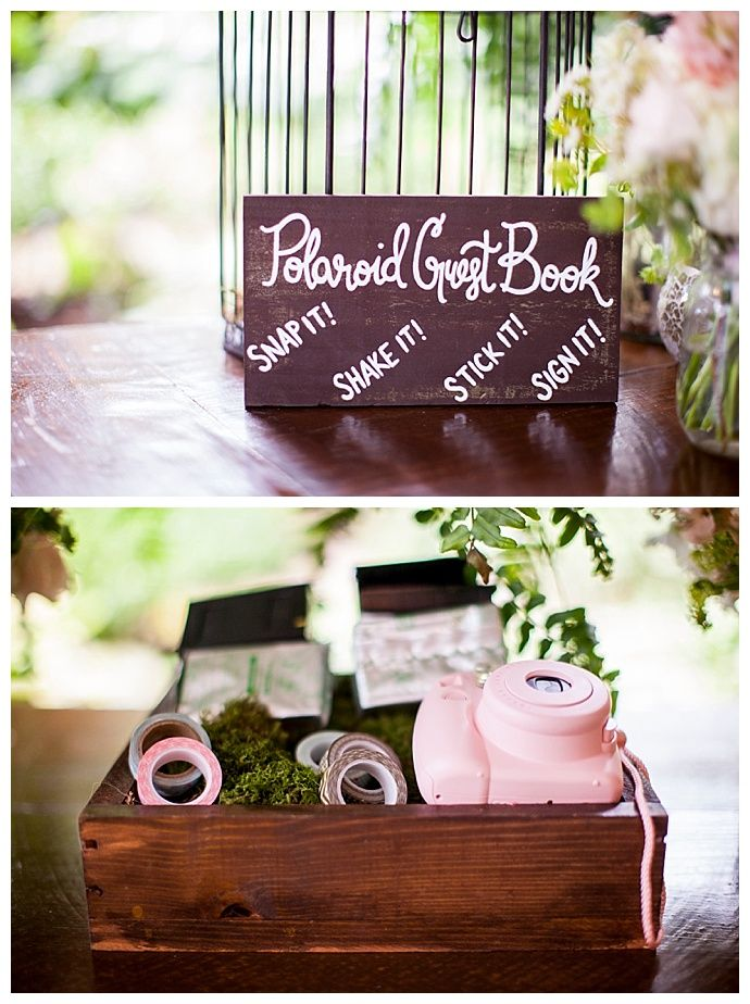 This Polaroid guest book is such a creative way to have your guests leave a personalized message. | Photography by Jessie Felix Photography