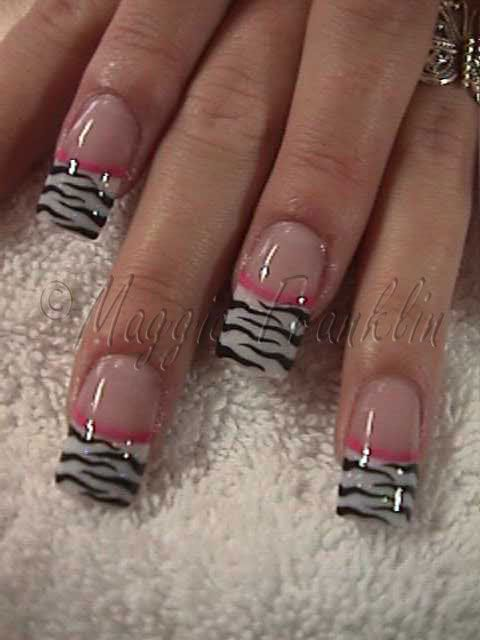 the best nail designs for long nails | Health & Beauty » Zebra French Mani