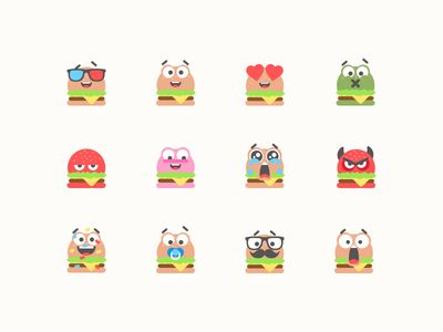 Burger Emojis Set