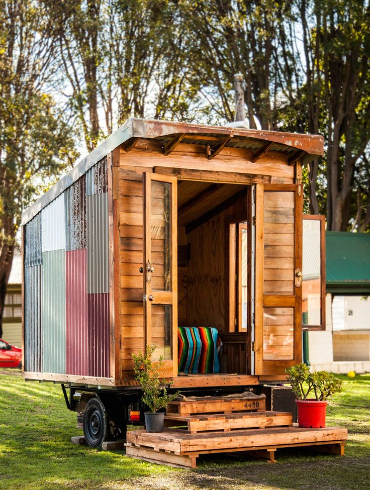 A tiny house mounted to a box trailer and made from 95% recycled materials in Marrickville, Australia.