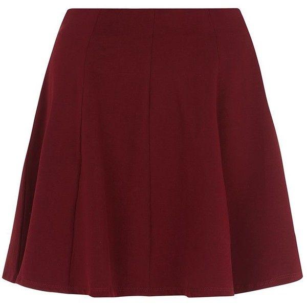 Burgundy Skater Skirt ($16) ❤ liked on Polyvore featuring skirts, mini skirts, bottoms, faldas, saias, burgundy, red circle skirt, flared skirt, skater skirt and mini flare skirt