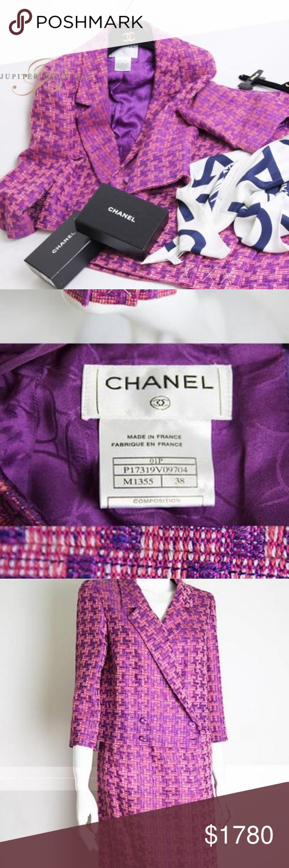 Chanel Tweed Suit Jacket and skirt Classic 100% Authentic Chanel Suite Set - Jacket and Skirt   Super Beautiful and Elegance   size : FR38  Jacket can be matched with Denim Jeans .   The scarf and hanger are NOT included   It was originally $2800 USD CHANEL Jackets & Coats Blazers