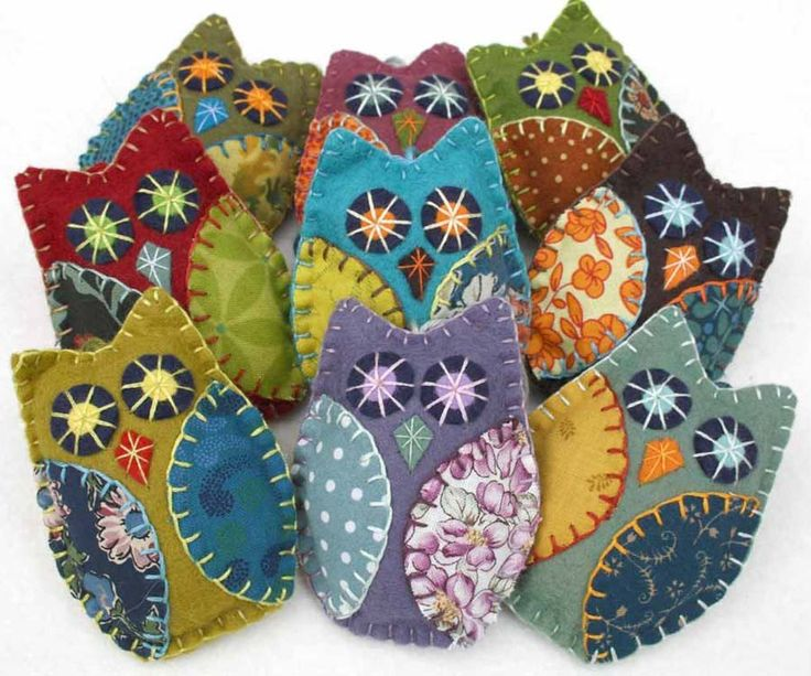 Felt Owl Ornaments, Handmade felt owls in vintage retro colors