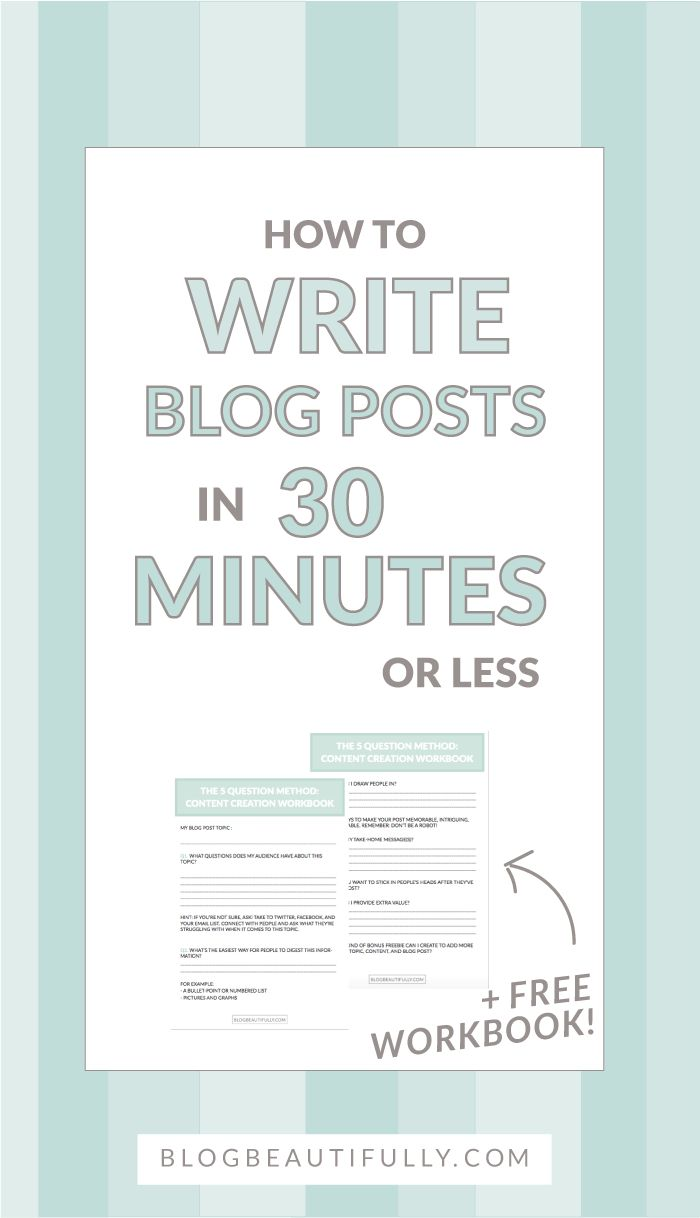 Think you can't write a blog post in less than 30 minutes? Think again! Write speedy blog posts with my secret 5 Question Method! BlogBeautifully.com